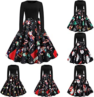 Women's Christmas Dresses Ladies Long Sleeve Printed Vintage Cocktail Party Dress Casual Patchwork Stitched A-line Midi Dress