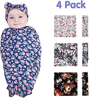 Baby Swaddle Wrap,Aumicu Floral Printed Swaddle Blankets with Headband,Baby Receiving Blankets Girl Boy,Set of 4,0-3 Month-Classic
