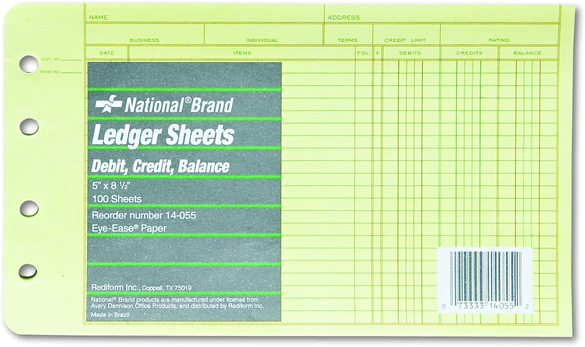 Rediform Extra Sheets for 4-Ring Ledger Binder, 5 x 8.5 Inches, 100 per Pack (14-055)