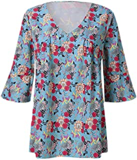 FSSE Women's V Cut Print T-Shirt Loose Pagoda Sleeve Top T-Shirt Blouse