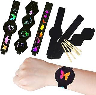 LAITER 30 Pcs Bracelets à Gratter pour Enfant Scratch Art Magique de Bricolage Kit de Cartes à Gratter de Peinture Ecritur...