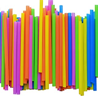 [ 300 PACK ] Smoothie Straws Jumbo Plastic Extra Wide Drinking Straw - with Recipe E-Book - BPA-Free Straws - Bright Color...