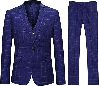 Hommes gaufre blazers gilets pantalon slim 3 pièces costumes par cavani