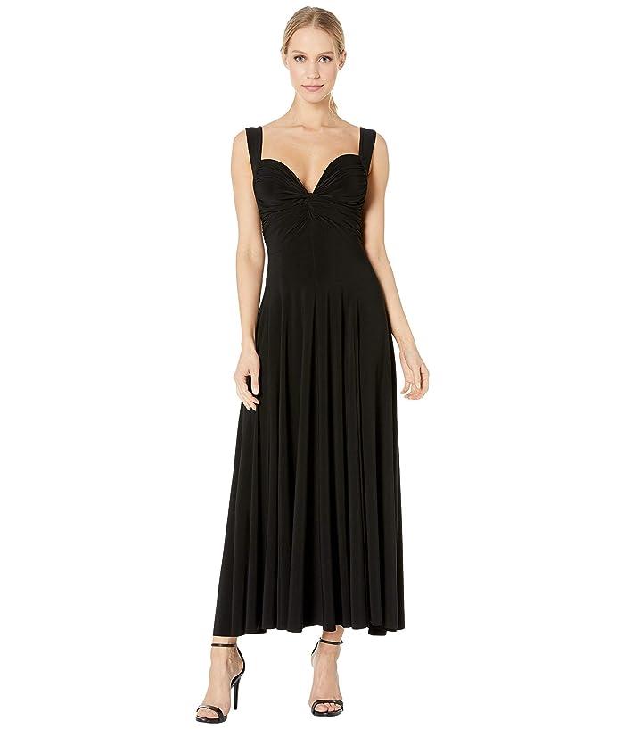 KAMALIKULTURE by Norma Kamali Sleeveless Flared Twist Midcalf Dress (Black) Women