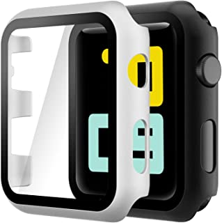 Hianjoo (2 Pack) Case Compatible with Apple Watch Series 3 Series 2 42mm, Built-in Ultra Thin HD Tempered Glass Screen Pro...