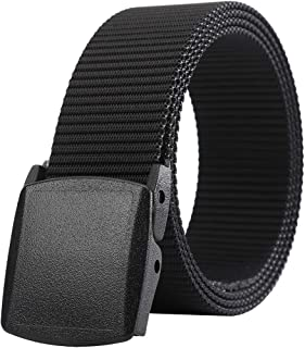 Belts for Men,Nylon Webbing Canvas Belt with YKK Plastic Buckle, Durable Breathable Fabric Waist Belt for Work Outdoor Gol...