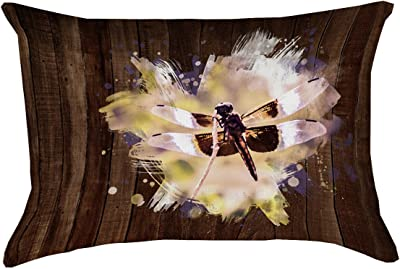 ArtVerse Katelyn Smith 14 x 20 Cotton Twill Double Sided Print with Concealed Zipper /& Insert Rustic Watercolor Dragonfly Pillow