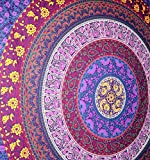 Rawyal, Barhmeri Circle of Flowers, Tappeto Indiano Multicolore con Motivo Mandala, per Installazione a Parete, Dimensioni: 137,2x 213,4cm