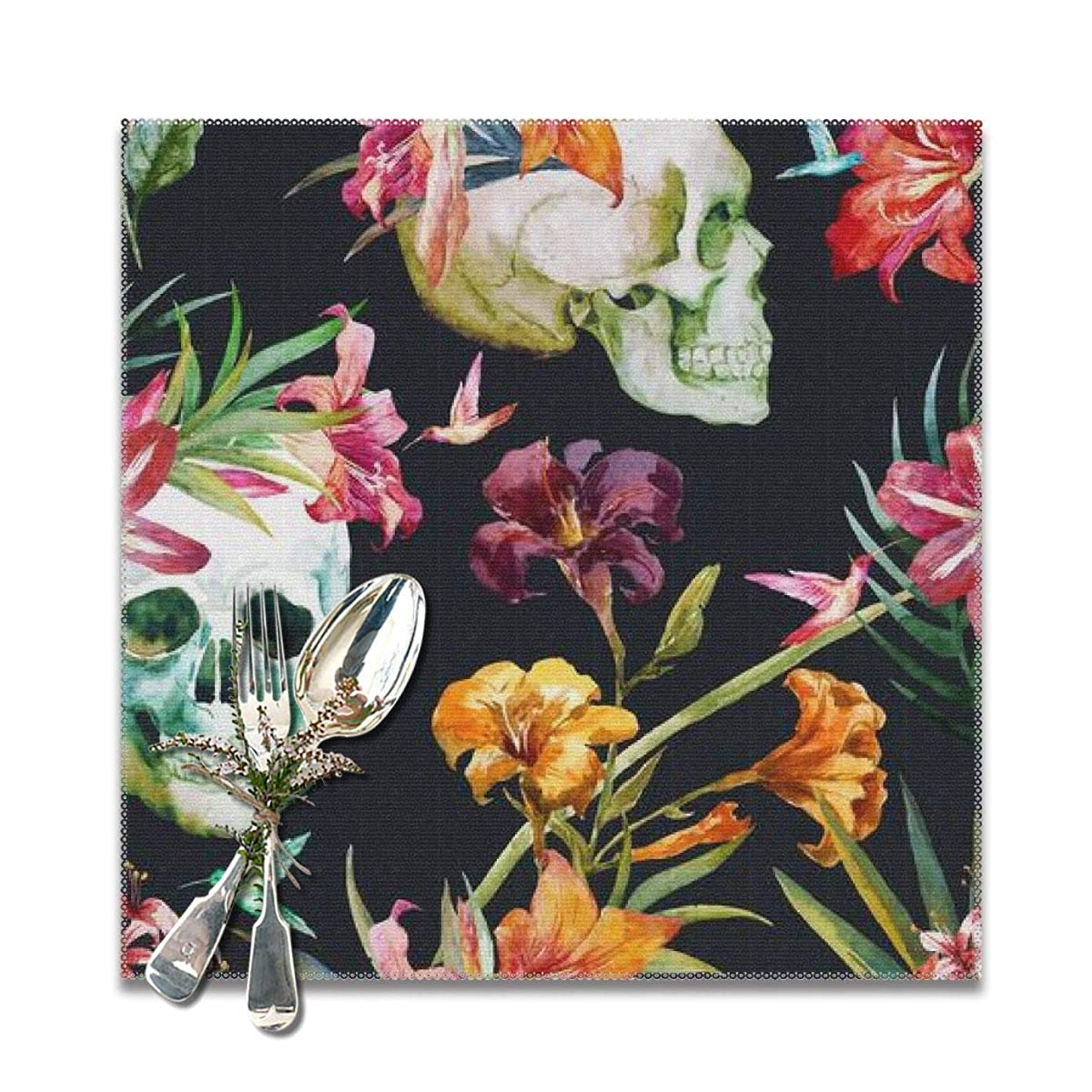 いつでも綺麗なダイエット美しい水彩画の頭蓋骨と花Placemats用ダイニングテーブル、洗えるプレースマットセット6、12 x 12インチ