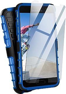 moex Panzerhülle kompatibel mit Samsung Galaxy A3 (2017)   Handyhülle mit Panzerglas, extrem stoßfest, Panzer Outdoor Hülle 360 Grad, Blau Schwarz