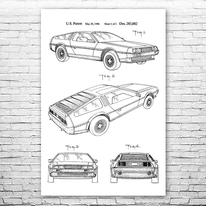 Back to the Future DeLorean DMC-12 Gullwing Grille Stylized Art Poster Print