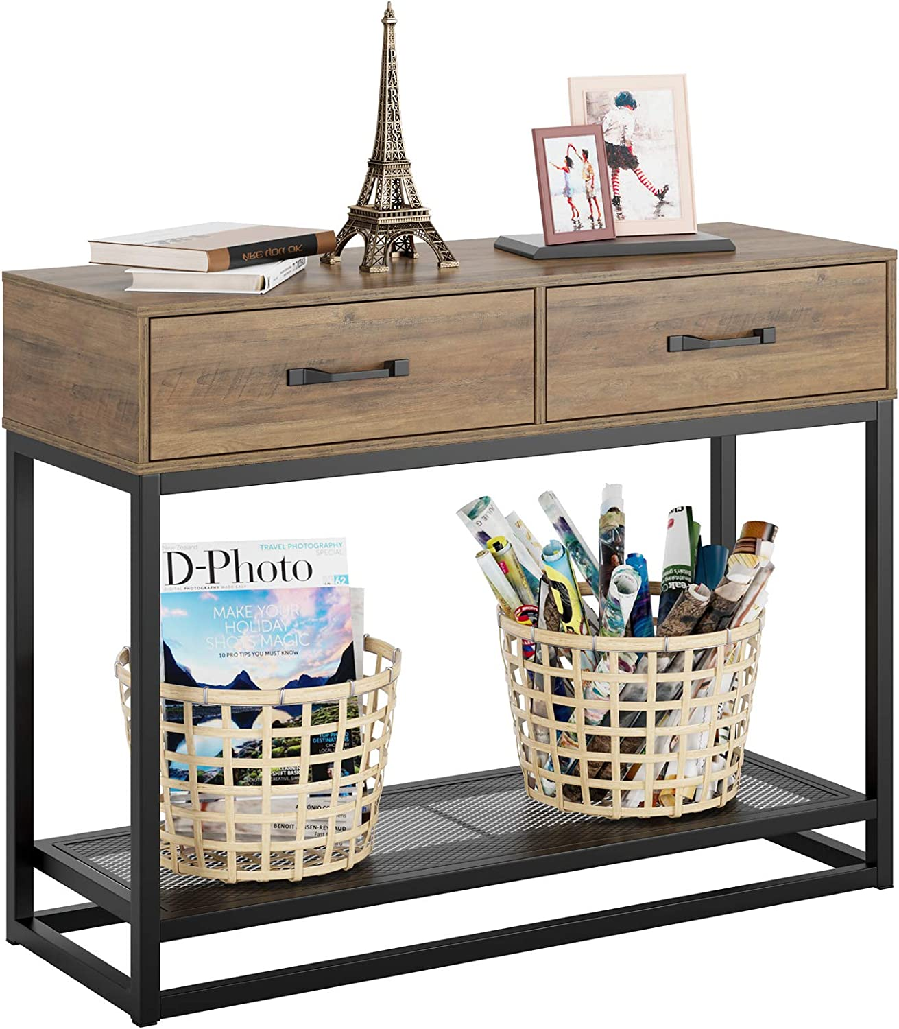 HOMECHO Console Table, Sofa Table, Industrial Entryway Table with 2 Drawers and Storage Shelf, for Entryway Hallway Living Room (40