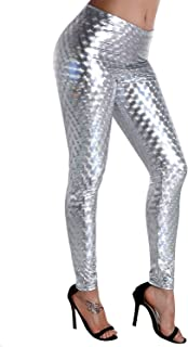 Unicorn scholar Liquid Wet Look Shiny Metallic Stretch Leggings (XL, Multicolor Black)