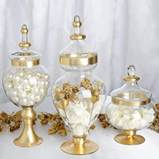 Efavormart Set of 3 Metallic Gold Rimmed Apothecary Glass Candy Jars Candy Buffet Containers with Lids -11