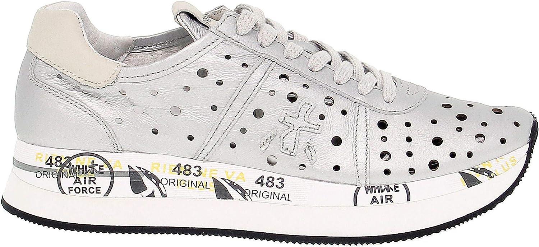 Premiata Women's CONNY2966 Silver Leather Sneakers