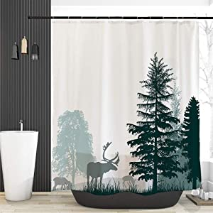 Ofat Home Dark Green Mountain Forest Moon Elk Deer Shower Curtain for Bathroom, Waterproof Fabric Party Decor No Liner Needed, Green White, 150GSM, 72x72 inches, Custom