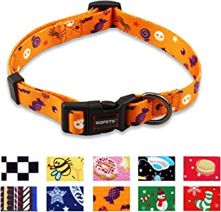QQPETS Dog Collar Personalized Adjustable Basic Soft Comfortable Pattern Collars for Puppy Small Medium Large Dogs or Cats Outdoor Training Walking Running