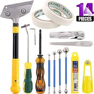Swpeet 14Pcs Caulking Tool Kit, Multi-Purpose Scraper+ Metal Ball Tile + Masking Tape + Yin and Yang Angle Scraping + Other Caulking Remove Tool for Scraping Kitchen, Bathroom, Tank, Sink Joint