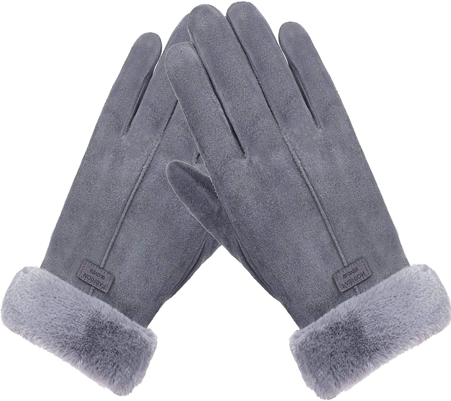Womens Winter Gloves Touchscreen Warm Faux Chamois Suede Soft Pair