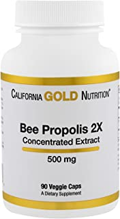 California Gold Nutrition Bee Propolis 2X Concentrated Extract 500 mg 90 Veggie Caps, Milk-Free, Fish Free, Gluten-Free, P...
