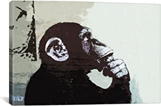 iCanvasART The Thinker Monkey by Banksy Canvas Art Print, 40 by 26-Inch