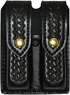 Safariland Duty Gear Glock 17,22, Brass Snap Double Handgun Magazine Pouch (Basketweave Black)