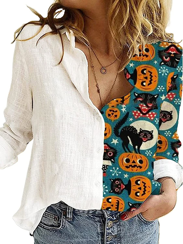 Jchen Max 58% OFF Women's Funny Pumpkins Limited time cheap sale Button Nove Down Shirts Long Sleeve