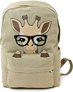 Nerdy Baby Giraffe Canvas Backpack Beige
