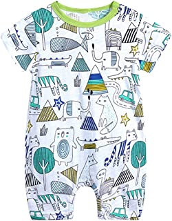 RONSHIN Baby Clothing Boy Girl Cartoon Printing Short Sleeve Cotton Romper Bodysuit