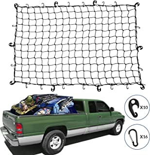 Kohree Cargo Net 4feet X 6feet Super Duty Truck Bed Bungee Nets Stretches To 8feet X 12feet, Pickup Truck Bed Net Fits SUV Jeep Oversized Rooftop Cargo Rack Small Trucks