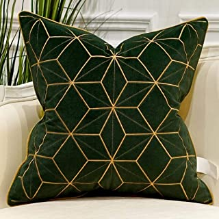Avigers 20 x 20 Inches Green Gold Plaid Cushion Cases Luxury European Throw Pillow Covers Decorative Pillows for Couch Living Room Bedroom Car