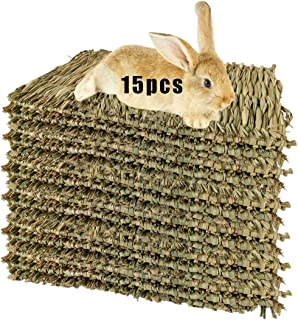Hamiledyi 15 Pack Woven Bed Mat for Rabbits - Grass Mat & Bunny Bedding Nest - Natural Chew Toy Bed for Guinea Pig Chinchi...