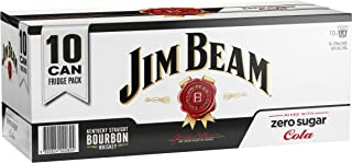 Jim Beam White Label Bourbon & Zero Sugar Cola Cans, 375ml (Pack Of 10)