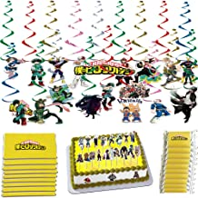 My Hero Academia Gift Set - 36 Pack Hanging Swirls Cutouts, 50 Pack DIY Cake Toppers, 48 Pack Hershey's Chocolate Bar Adhesive Wrappers For My Hero Academia Fans Birthday Party Favors