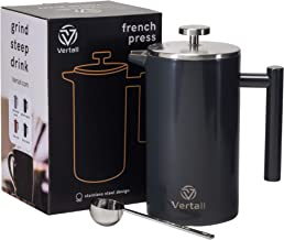 Vertall Large French Press Coffee Maker 34oz - Double Wall Vacuum Insulated Rust-Free 304 18/10 Stainless Steel With Bonus Tablespoon Scoop (French Press, Granite Gray)