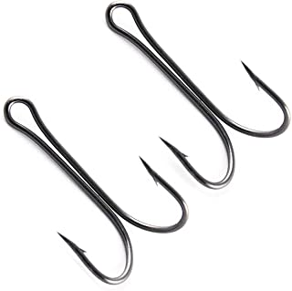 JL Sport Classic Sharp Durable Double Hooks - 20pcs High Carbon Steel Saltwater Hook Small Fly Tying Fishing Hooks