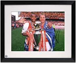 Dennis Bergkamp Signed Arsenal Photo: With Thierry Henry. Framed