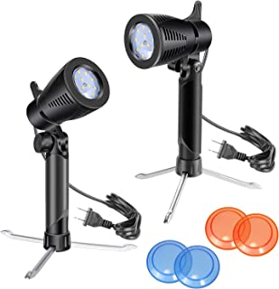 Neewer 2-Pack Table Top Photography Studio LED Lighting Kit with Tripod Base, Orange, Blue and Transparent Color Gel Filters for Photo Studio Product, Toy, Jewelry Shooting