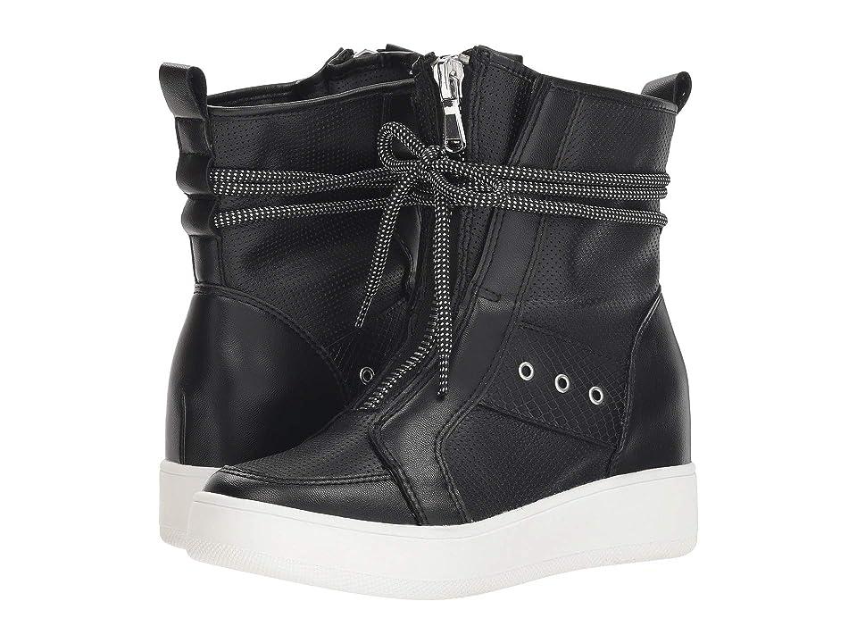 Steve Madden Anton Wedge Sneaker (Black Leather) Women