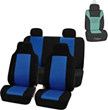 FH Group FB102114 Full Set Classic Cloth Car Seat Covers w Gift, Solid Black- Fit Most Car, Truck, SUV, or Van