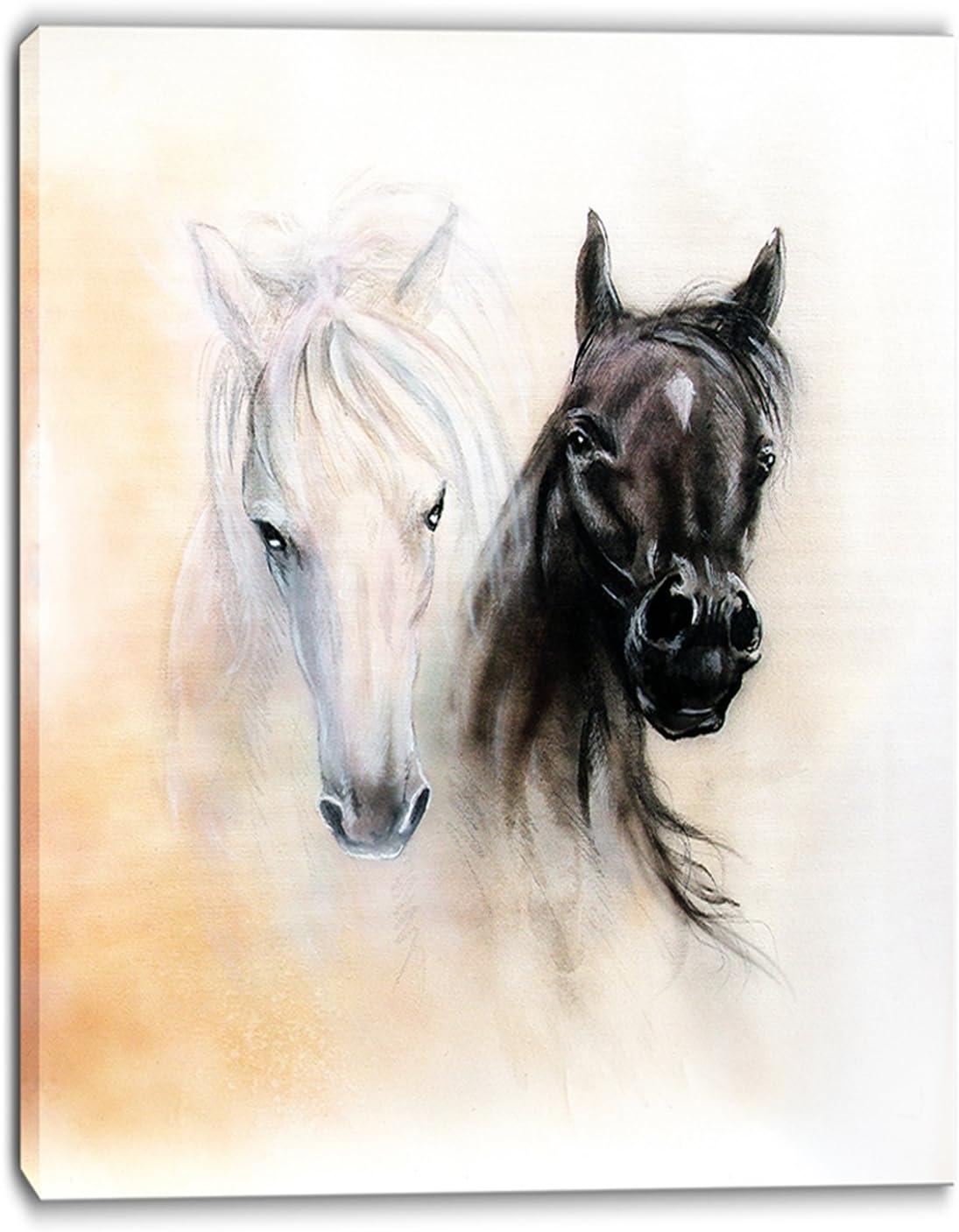 Design お歳暮 Art PT6280-12-20 Black and White Canva Heads-Animal Horse 毎日続々入荷