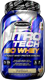 MuscleTech NitroTech Iso Whey Isolate Protein Powder, Vanilla, 1.8-Pound