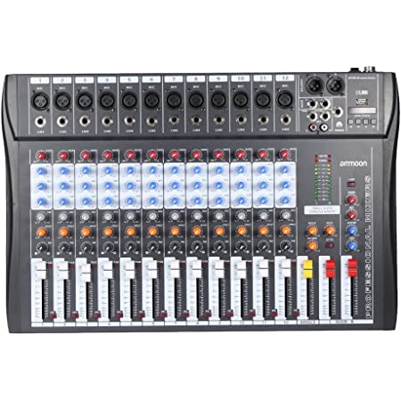 ammoon 12 Channels Mixer Audio Mixing Mic Line Console USB XLR Input 3-band EQ 48V Phantom Power with Power Adapter