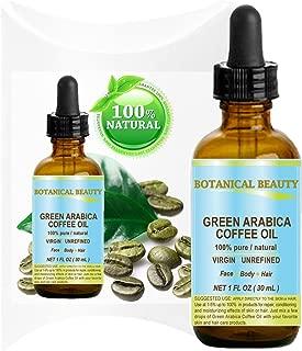 GREEN ARABICA COFFEE OIL Brazilian. 1 Fl.oz- 30 ml. 100% Pure / Premium Quality. For Skin, Hair, Lip and Nail Care. Wrinkle Reducer, Skin Lift /Tone, Anti- Puffiness / Dark Circles, Anti Cellulite.