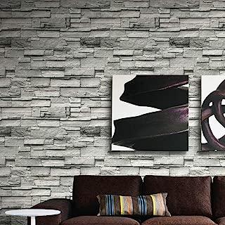 1304 Stone Brick Textured Wallpaper Roll,White/Gray Embossed Multi Brick Blocks Wallpaper Murals Bar Home Room Decoration 20.8