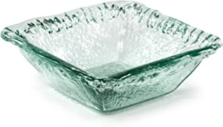 100% Recycled Glass Textured Sm Square Salad Bowl, Set of 2 - 6.5
