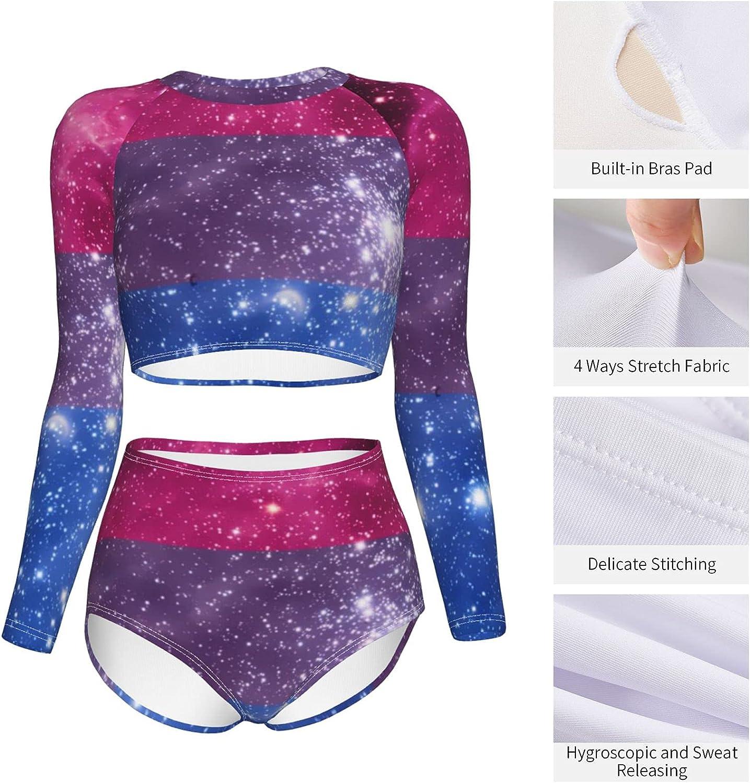 Bisexuality Pride Women's Long Sleeve Swimsuit Set Rash Guard Swimsuit Two-Piece Swimming Split Top Swimsuit