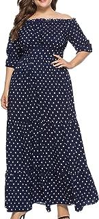Eternatastic Women's Plus Size Polka Dot Maxi Dresses Boho Long Party Dress