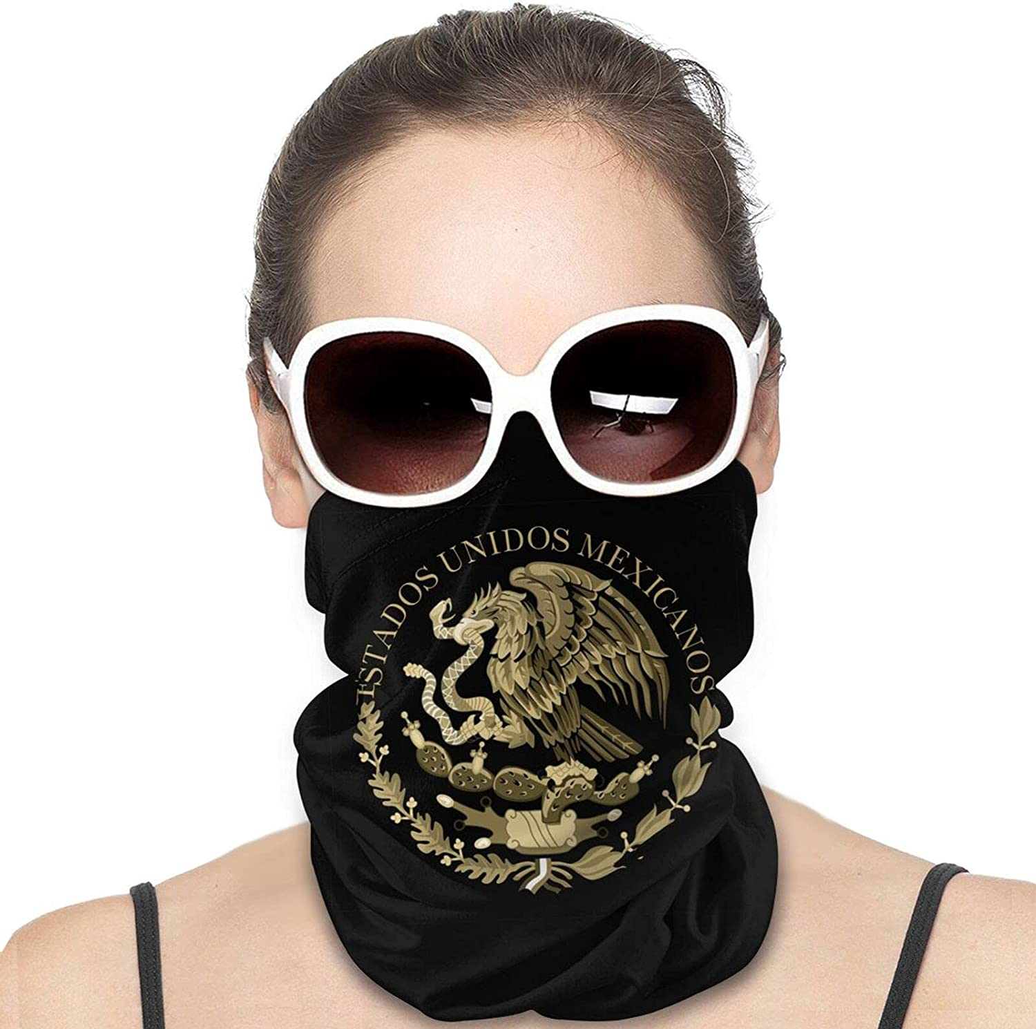 Mexico Flag Seal in SepiA Round Neck Gaiter Bandnas Face Cover Uv Protection Prevent bask in Ice Scarf Headbands Perfect for Motorcycle Cycling Running Festival Raves Outdoors