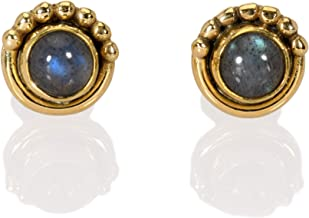 Handmade Solid 925 Sterling Silver Labradorite Earrings Small Stone,Flashy Earrings,Boho Labradorite Silver Earrings Labradorite Jewelry